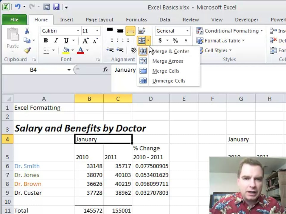 Excel Video 215 Two Ways to Center Data