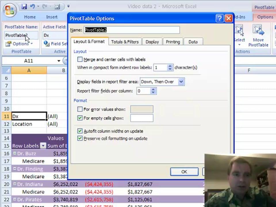 Excel Video 22 Pivot Table Options – Part 1