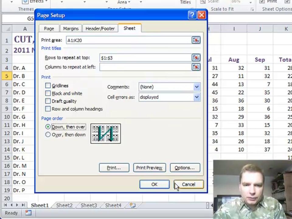 Excel Video 225 Page Setup