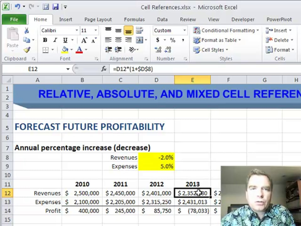 Excel Video 253 Absolute Cell References