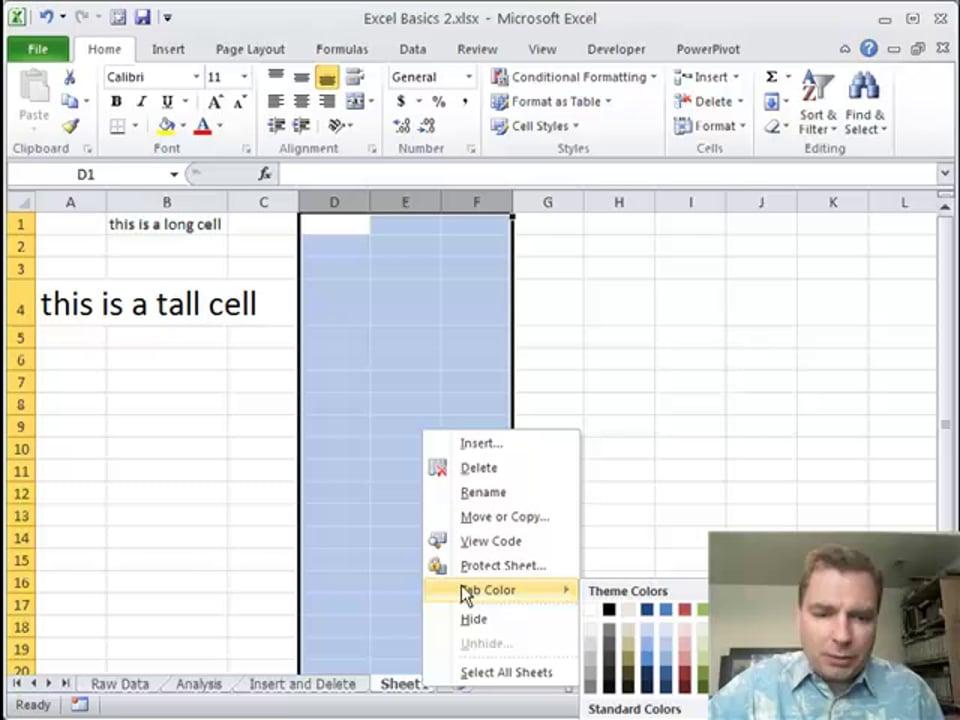 Excel Video 255 Format Menu