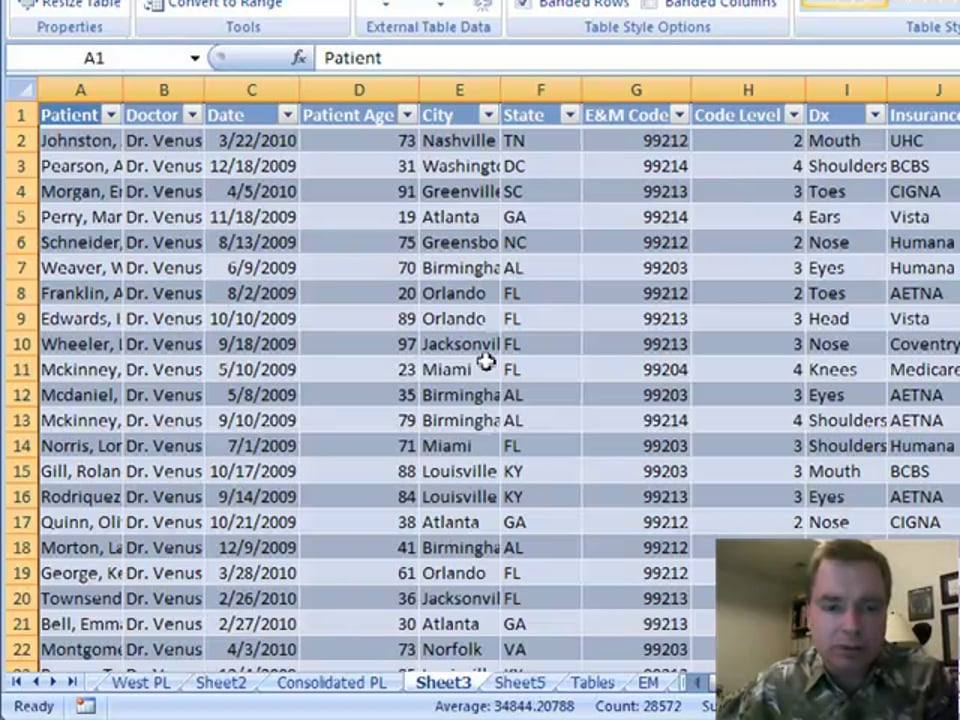 Excel Video 30 Introducing Tables in Excel 2007