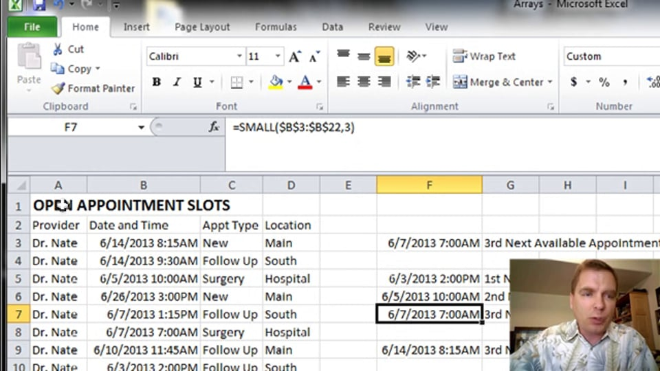 Excel Video 359 Using SMALL to Find the Third Next Available Appointment