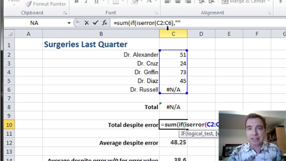 Excel Video 365 Using Arrays to Sum Ranges with Errors