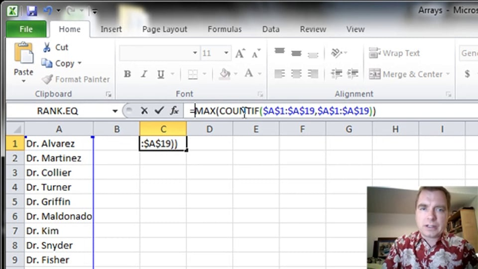 Excel Video 371 Using Arrays to See if a List is Unique