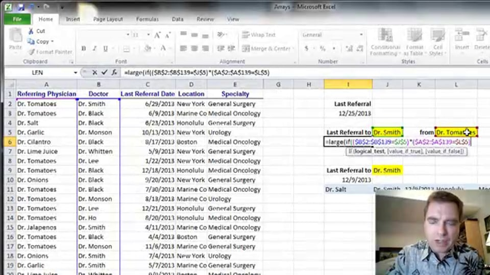 Excel Video 363 Using LARGE to Find the Last Referral