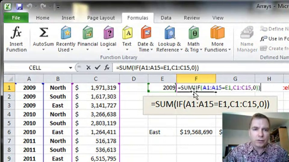 Excel Video 354 SUM and IF in an Array