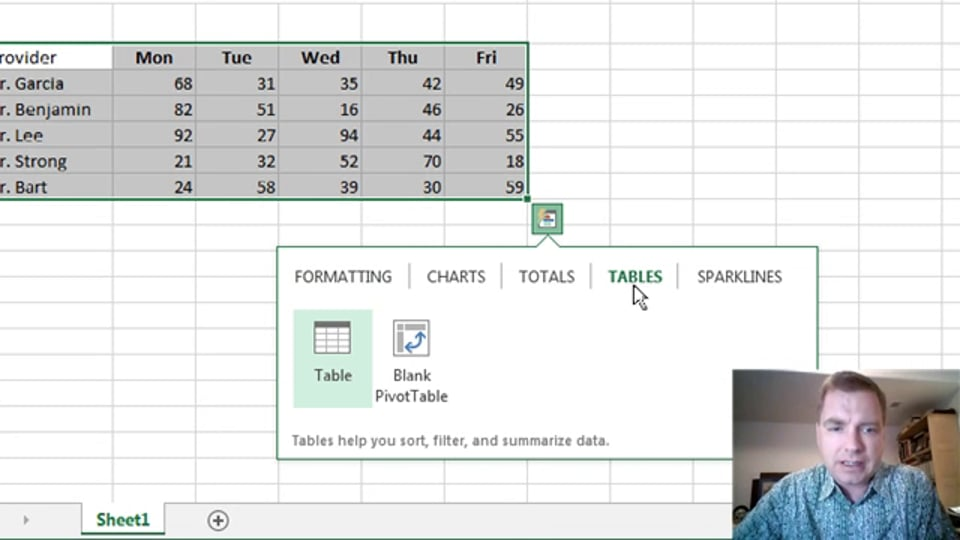 Excel Video 377 Quick Analysis – Tables and Sparklines