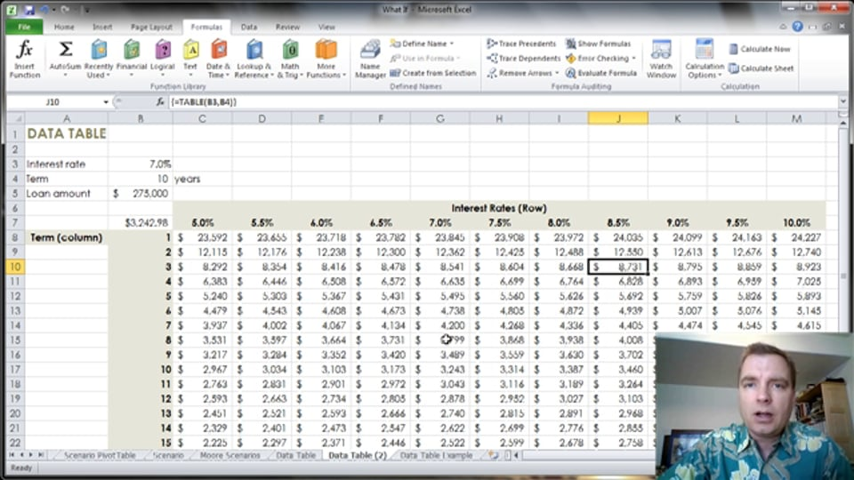 Excel Video 344 Data Tables Tips and Tricks