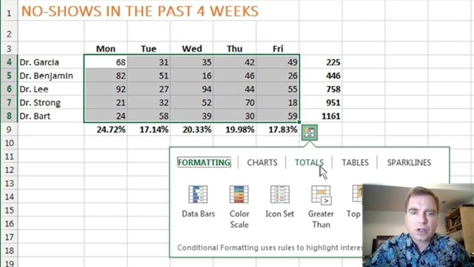 Excel Video 376 Quick Analysis – Totals