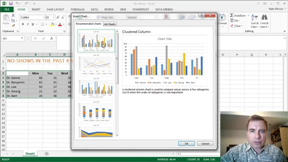 Excel Video 375 Quick Analysis – Charts