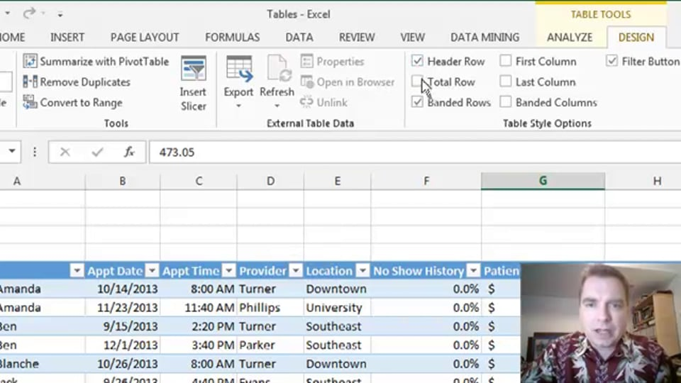 Excel Video 400 Table Styles