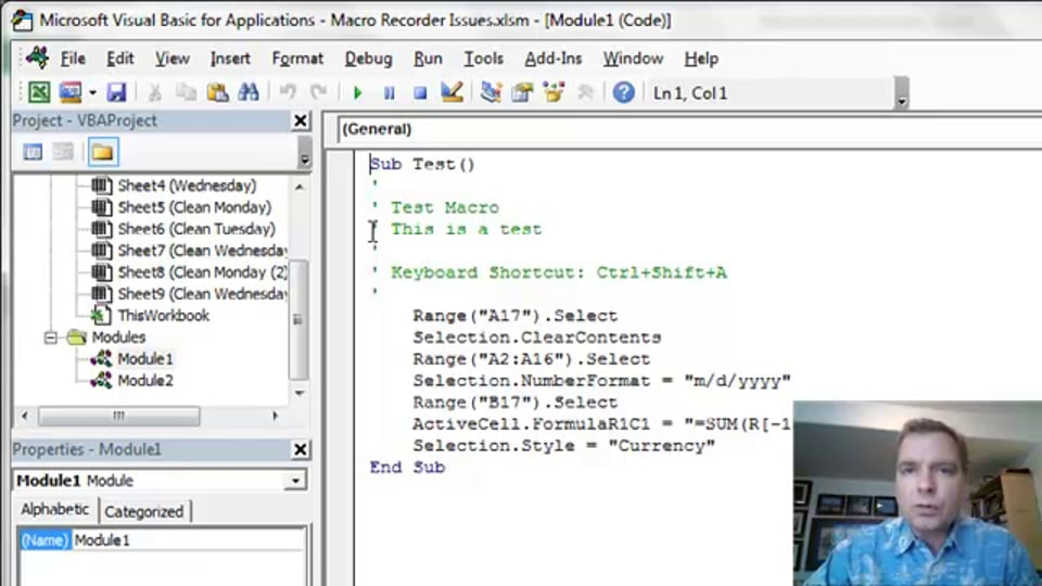 Excel Video 406 VBA Code Created by the Macro Recorder