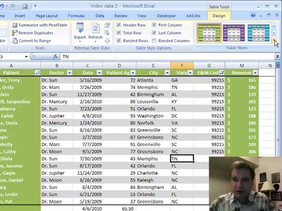 Excel Video 41 More Design Tricks in Tables