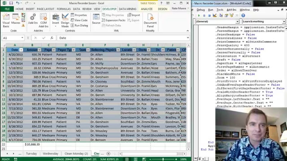 Excel Video 410 Watching the Macro Recorded Work in VBA