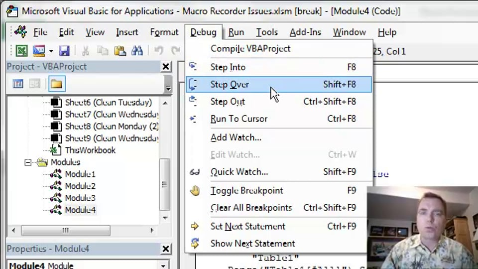 Excel Video 413 Debugging with Step Over and Step Out