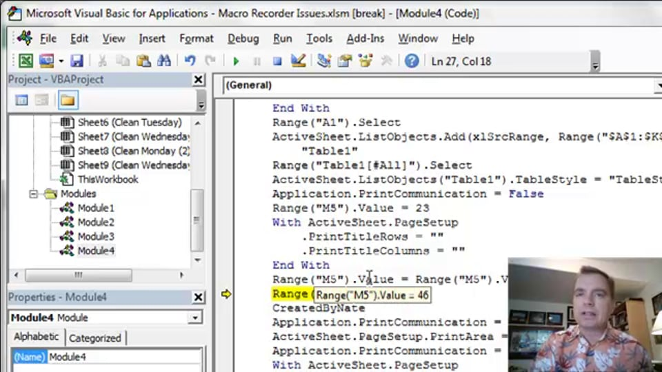 Excel Video 416 Debugging with the Watch Window