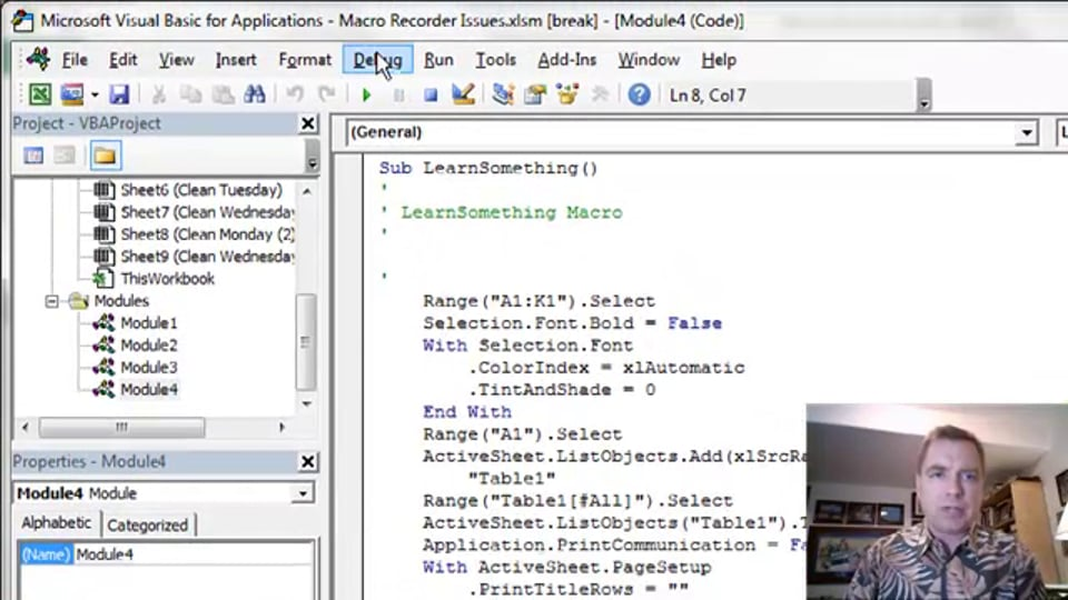 Excel Video 414 Debugging by Controlling Which Line of Code Runs Next