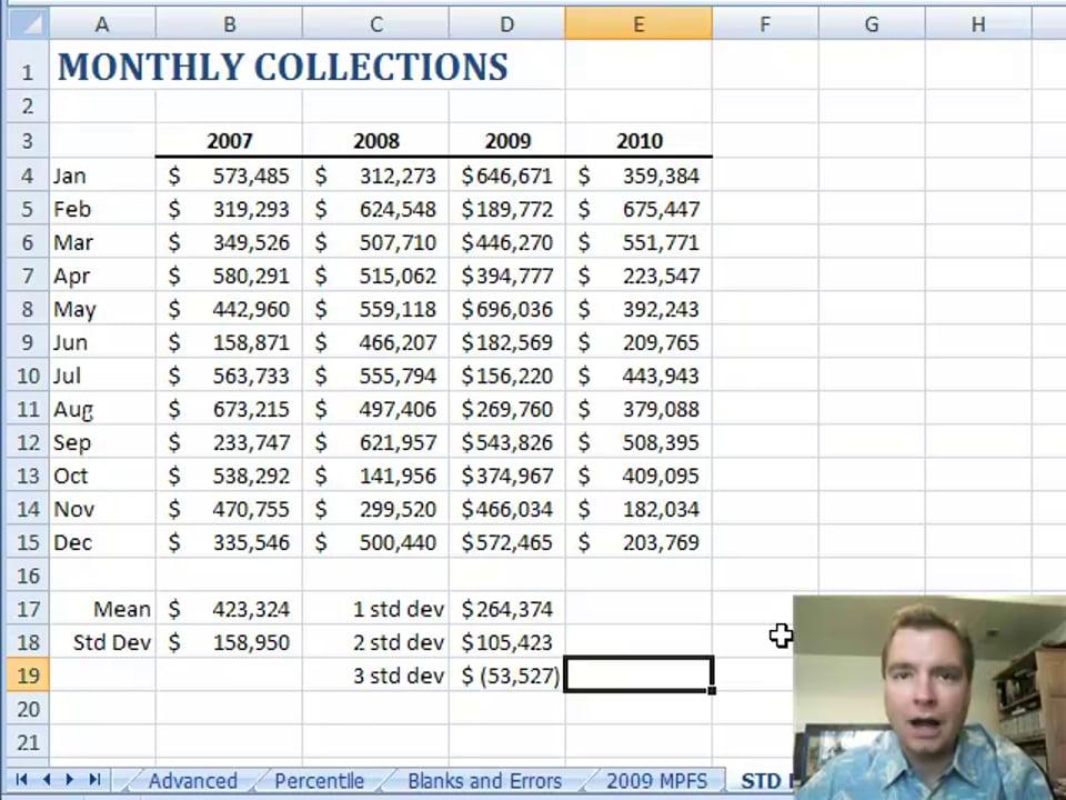 Excel Video 55 Above or Below Average