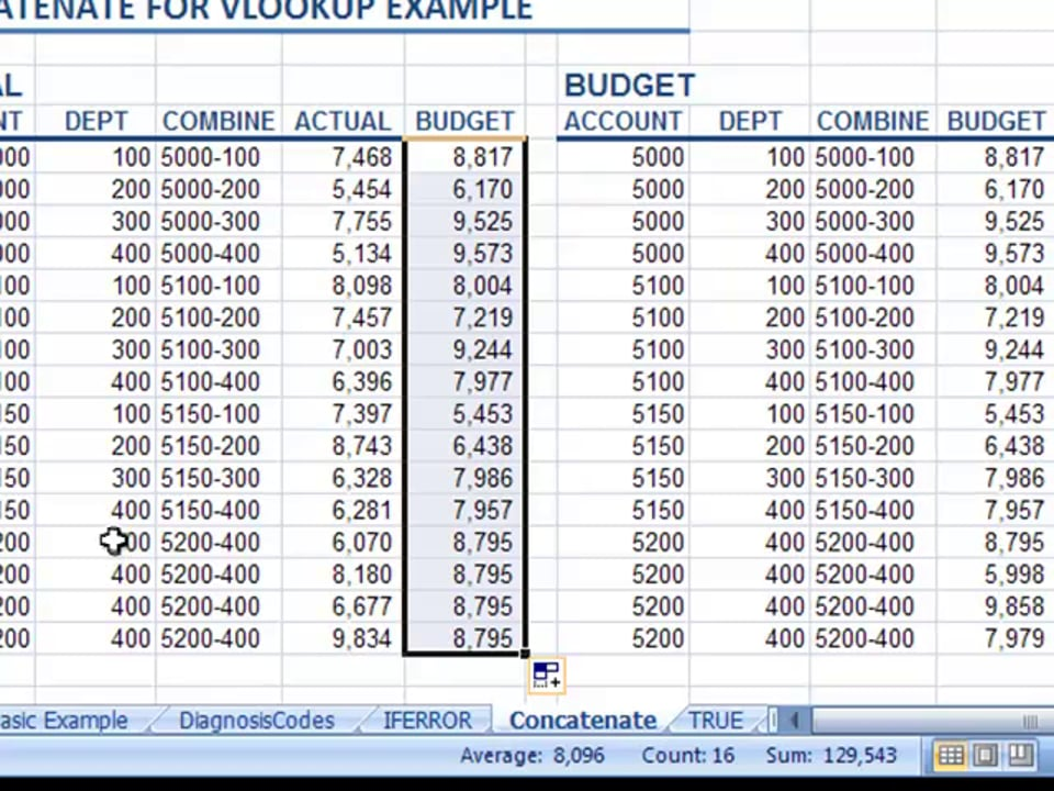 Excel Video 65 Concatenate to VLOOKUP