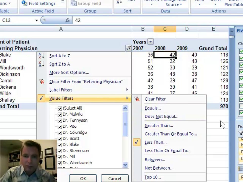 Excel Video 9 Value Filters in Pivot Tables