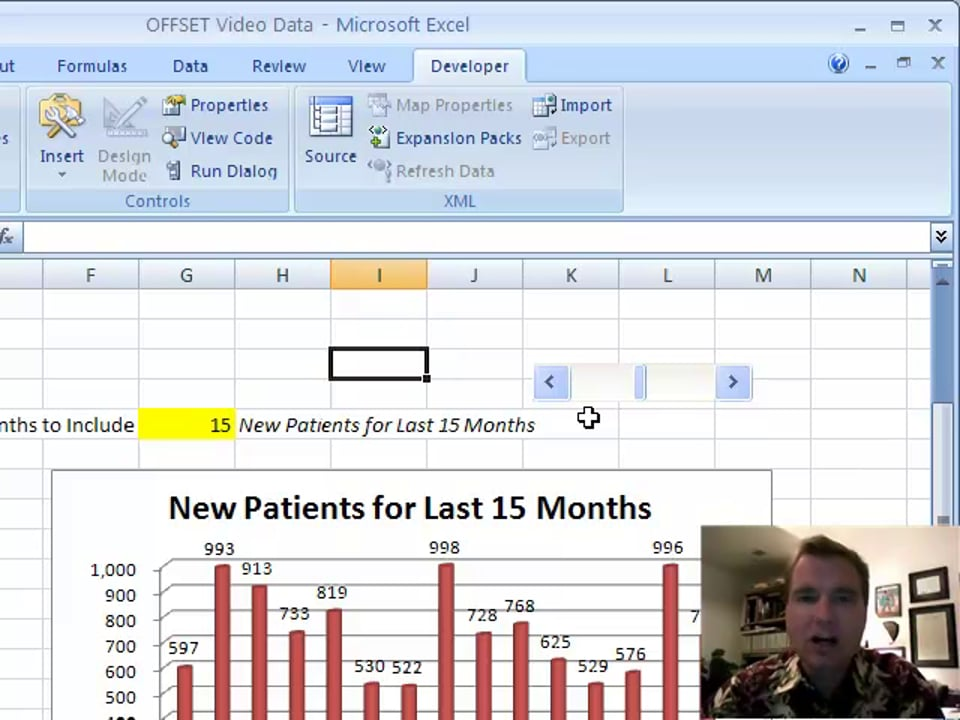 Excel Video 93 Adding A Scroll Bar to Control Your Chart Range