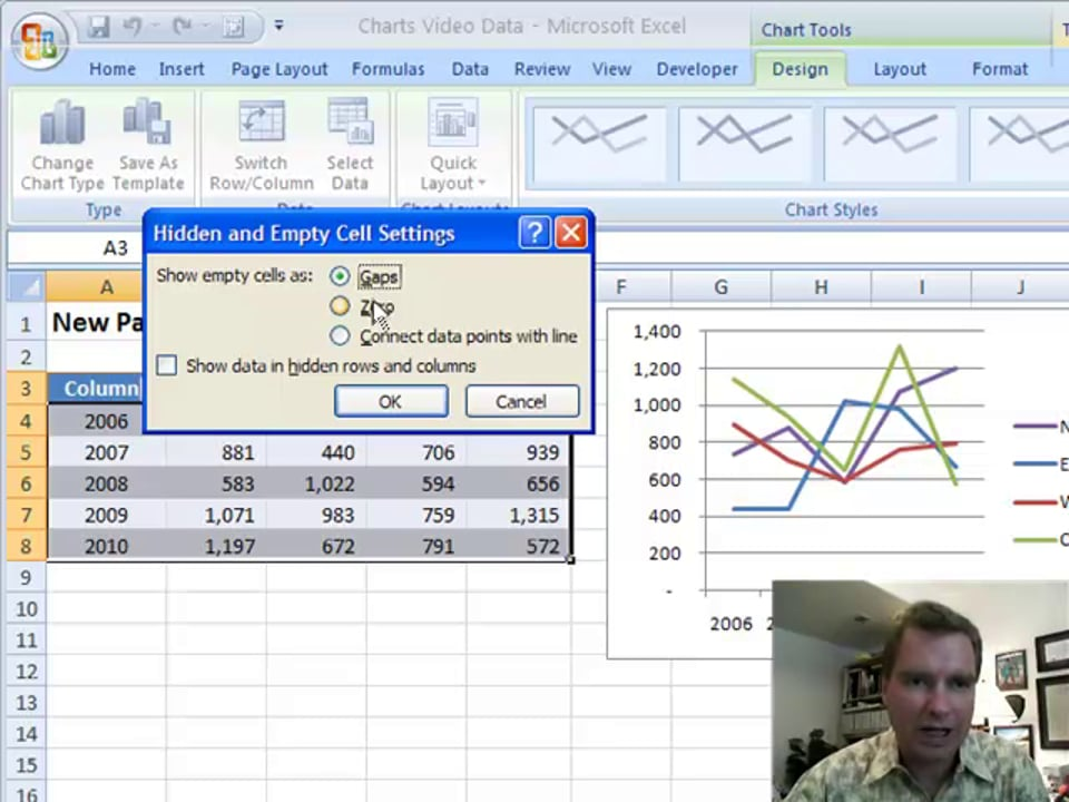 Excel Video 99 Charting Hidden and Empty Cells