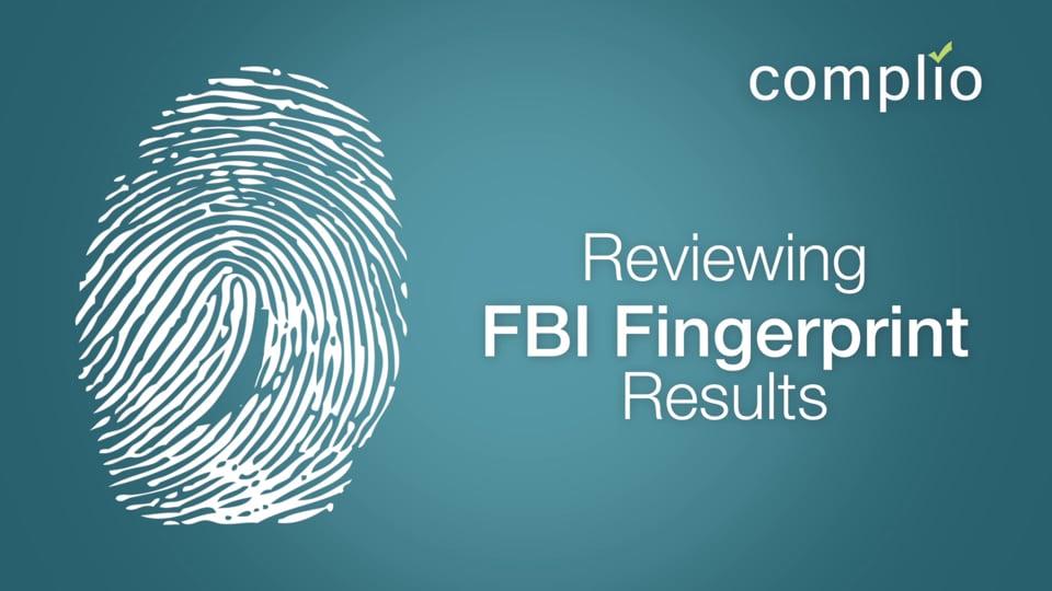 Complio FBI Fingerprint Process