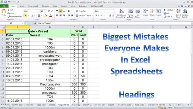 Top 10 Excel Spreadsheet Mistakes Vol 3