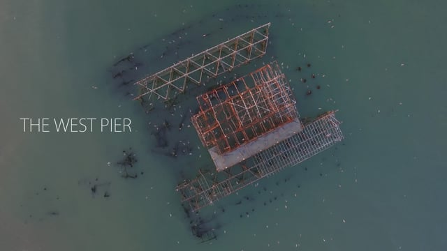 Aerial sequence of Brighton's West Pier