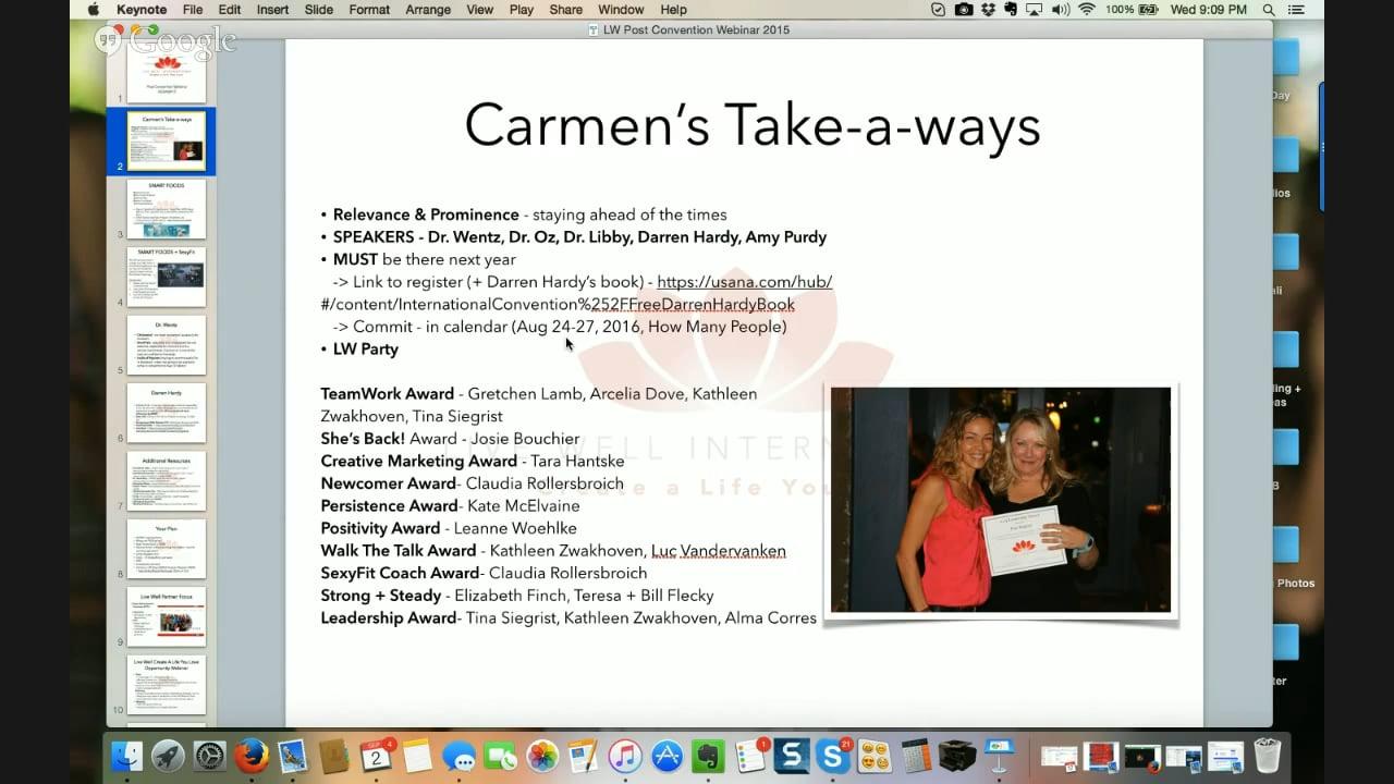 9.2.15 Live Well Partner Webinar: USANA Post-Convention Re-cap + Plan
