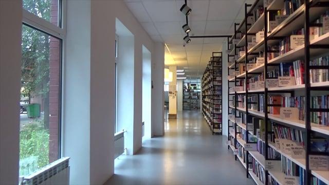 library, books, the corridor
