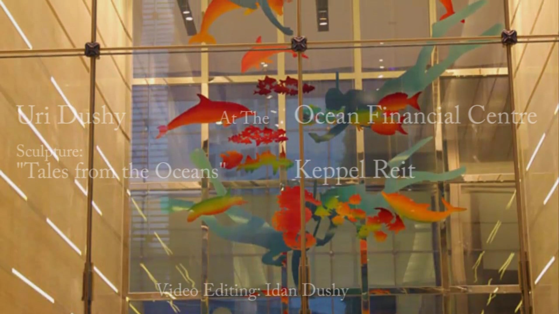 Uri Dushy installation of the Sculpture at the Ocean Financial Centre