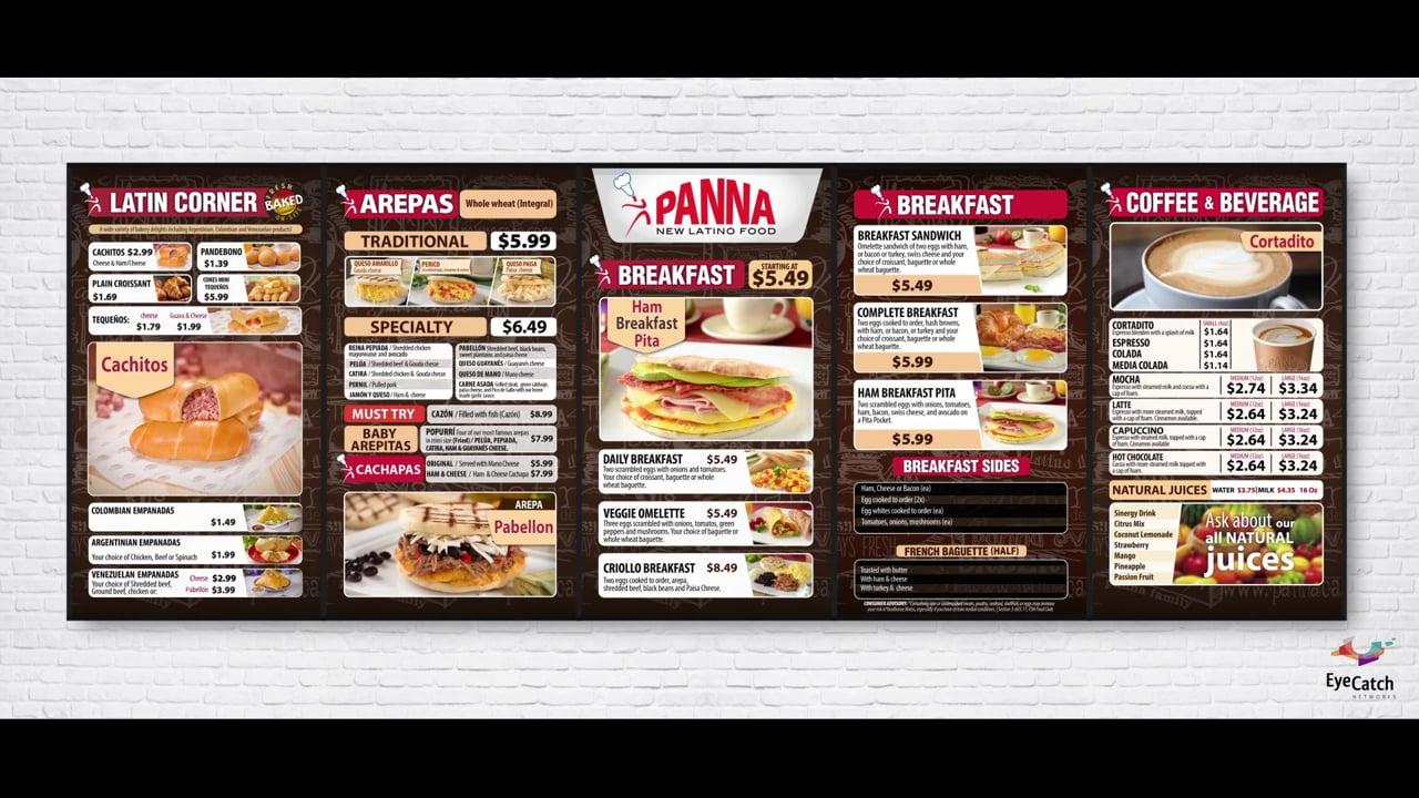 PANNA Breakfast Digital Menu
