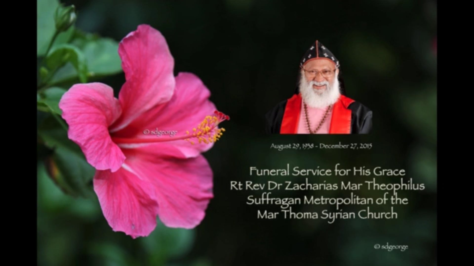 Funeral Service for His Grace Rt. Rev. Dr. Zacharias Mar Theophilus Suffragan Metropolitan