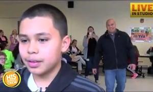 Marine Surprises His Son at School
