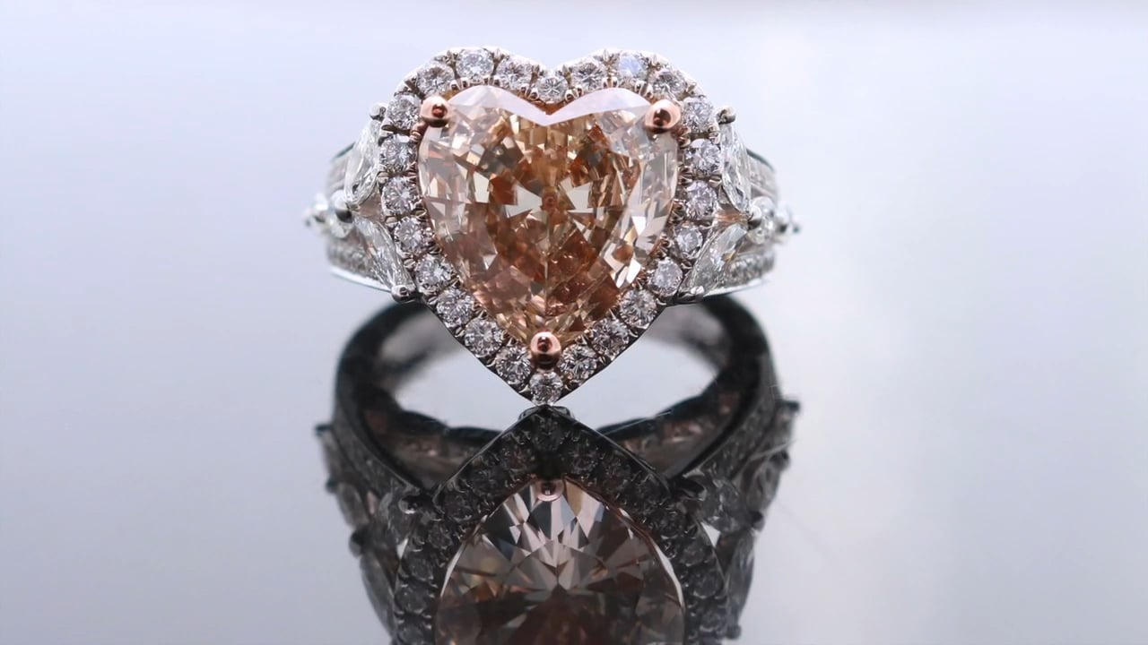 Large Pink Heard Diamond Ring