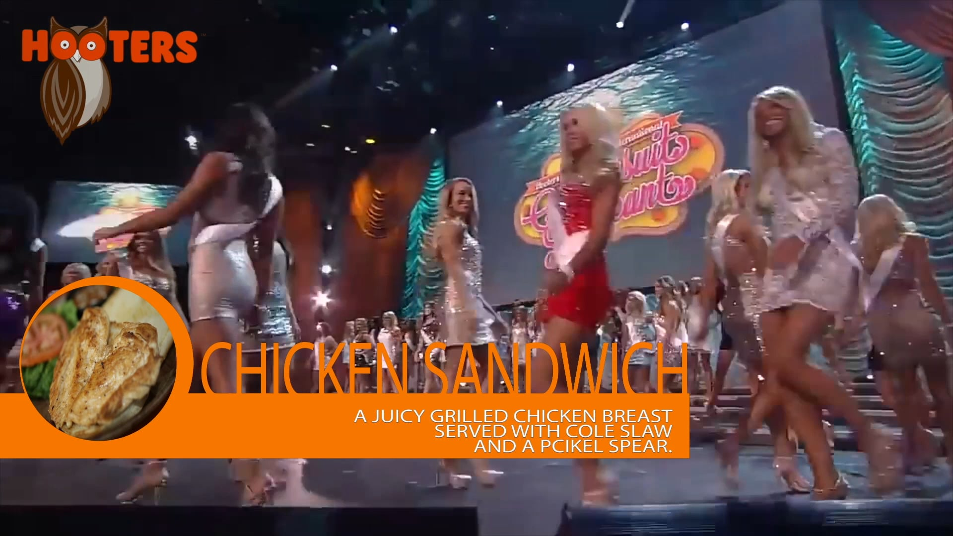 Hooters Swimsuit Pageant with Lower Third Food Items 2016
