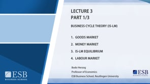 Macroeconomy Lecture 3: Business Cycle Theory (IS-LM)