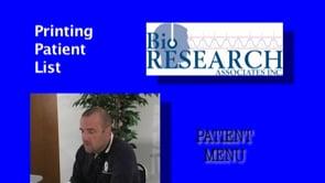 Patient Menu – Print Patient List