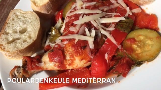 Poularde mit Knoblauchöl und Parmesan, mediterran