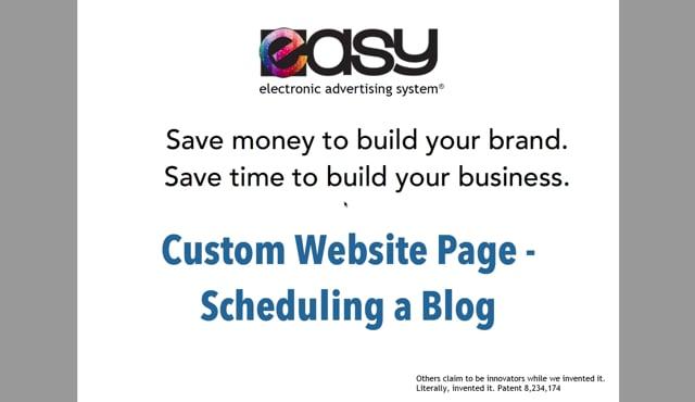 Website - Custom Page / Blog - 06 Scheduling a blog