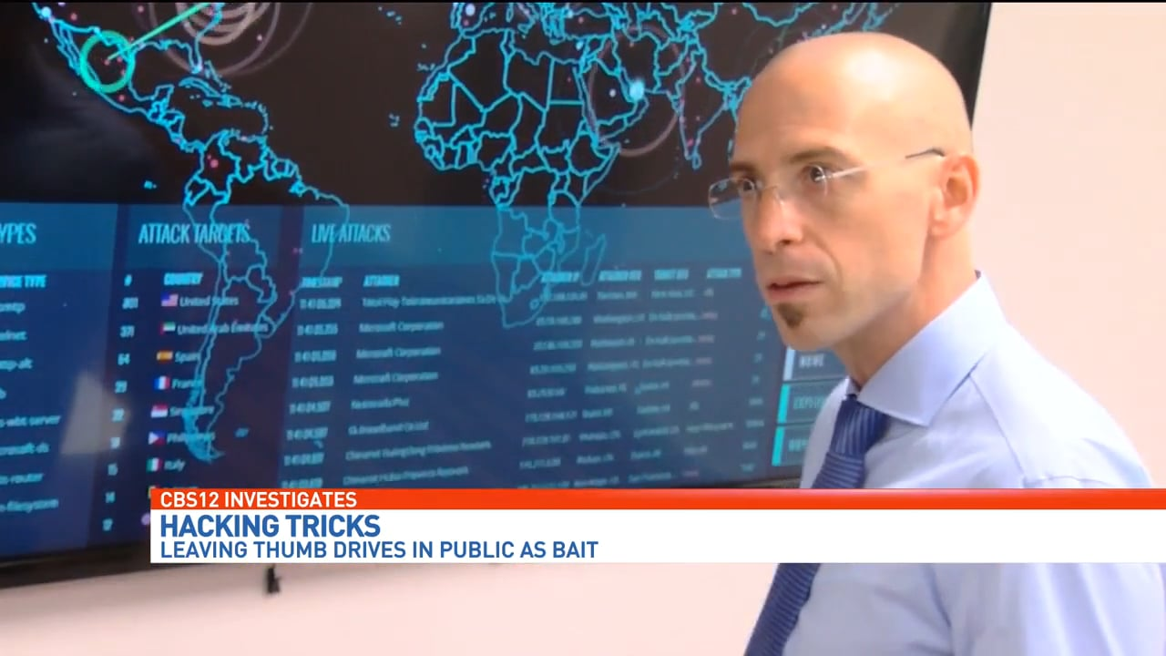 """Zohar Pinhasi - MonsterCloud's CEO is interviewed by """"CBS Investigators"""" on Hackers Baiting Targets with USB Drives"""