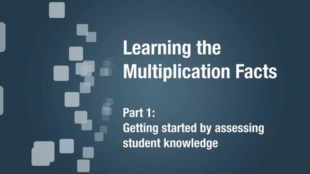 part 1 Getting Started to Learn the Multiplication Facts