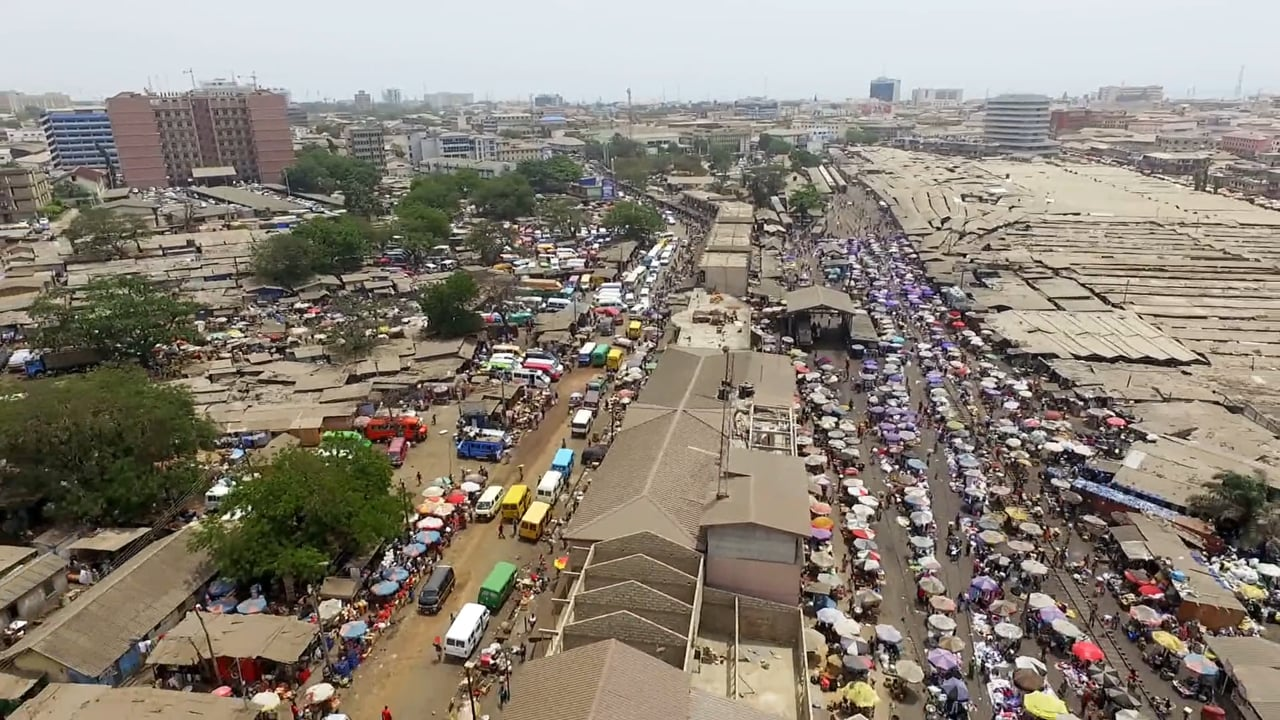 Aerial shot of  a market in Accra. Ghana