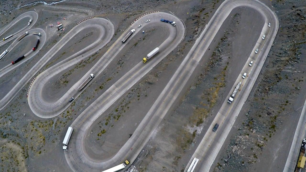 Aerial shot Paso Los Libertadores, Chile