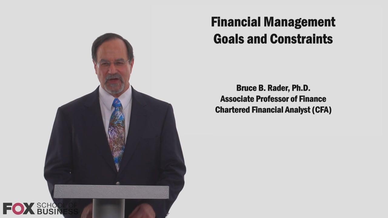 58783Financial Management Goals and Constraints
