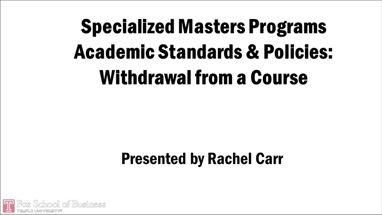 58737Specialized Masters Programs – Withdrawl from a course