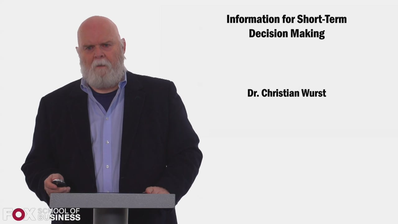 58453Information for Short Term Decision Making