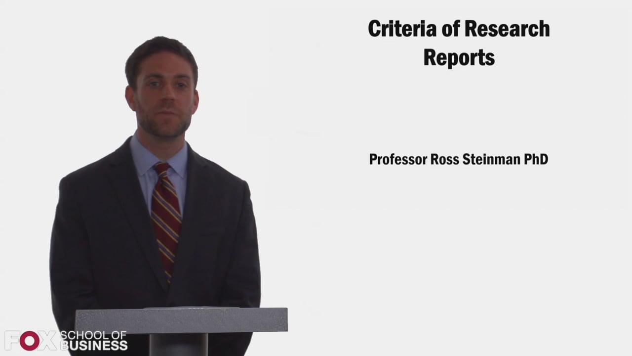 58311Criteria of Research Reports